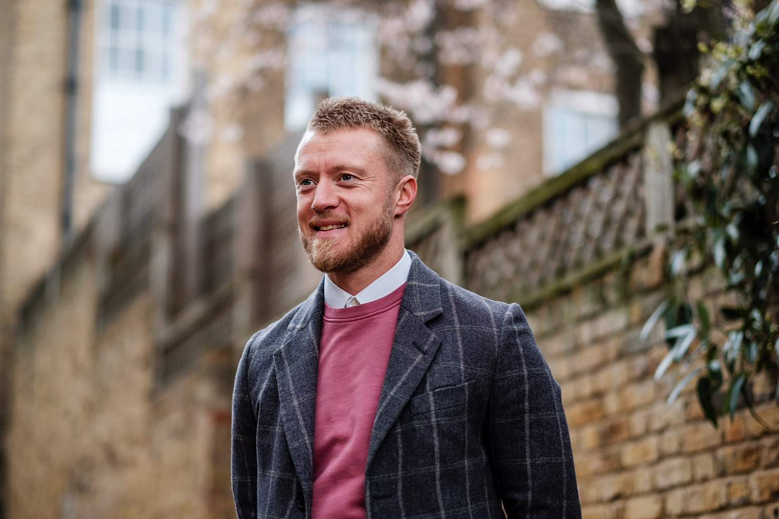 Business Portrait of a man smiling in an urban setting in London