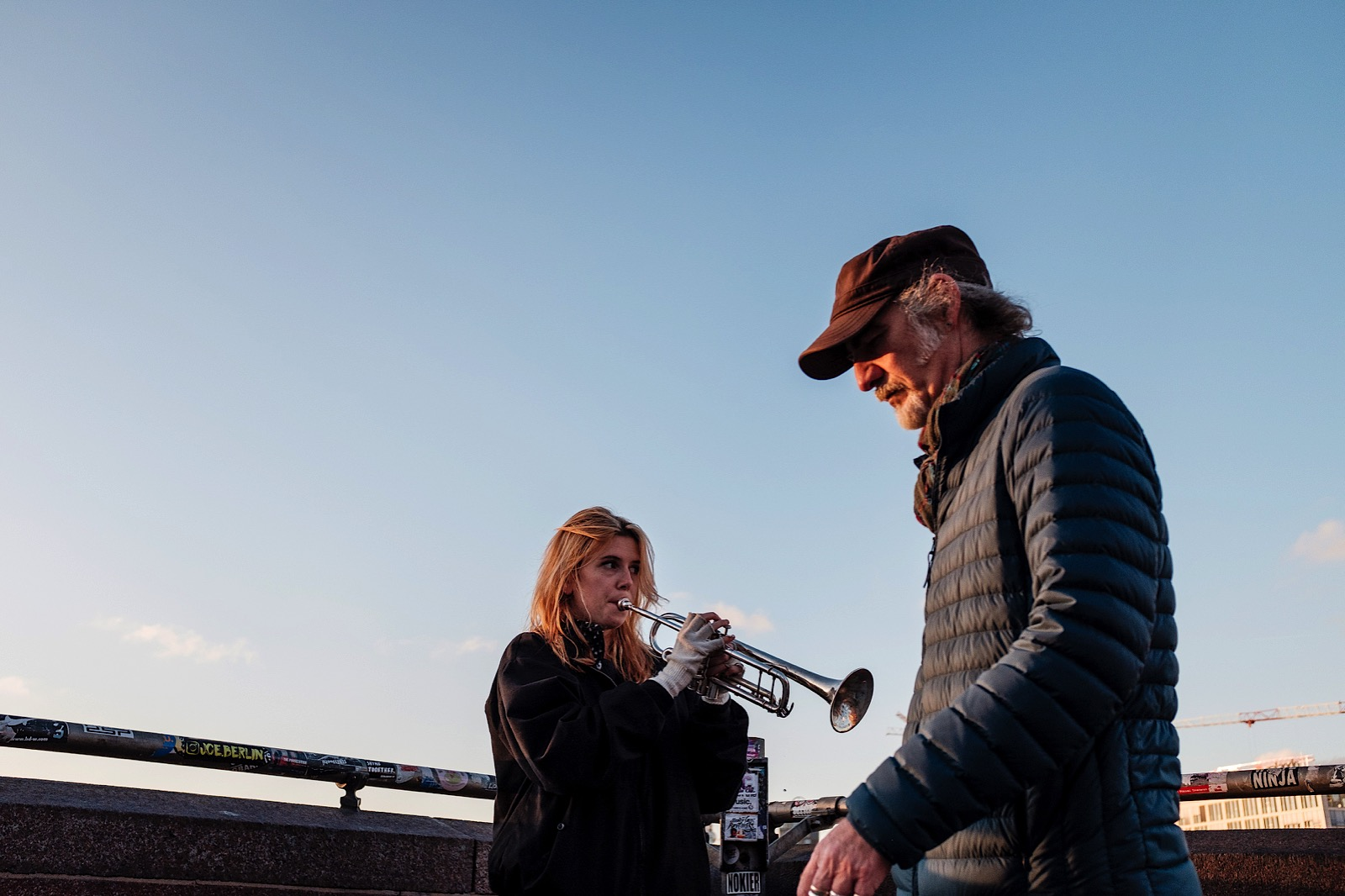Girl playing trumpet in Berlin