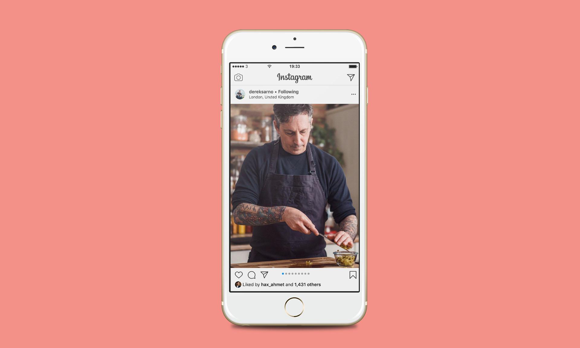 Derek Sarno of Wicked Kitchen shown on instagram on mobile sliding chopped vegetables off knife