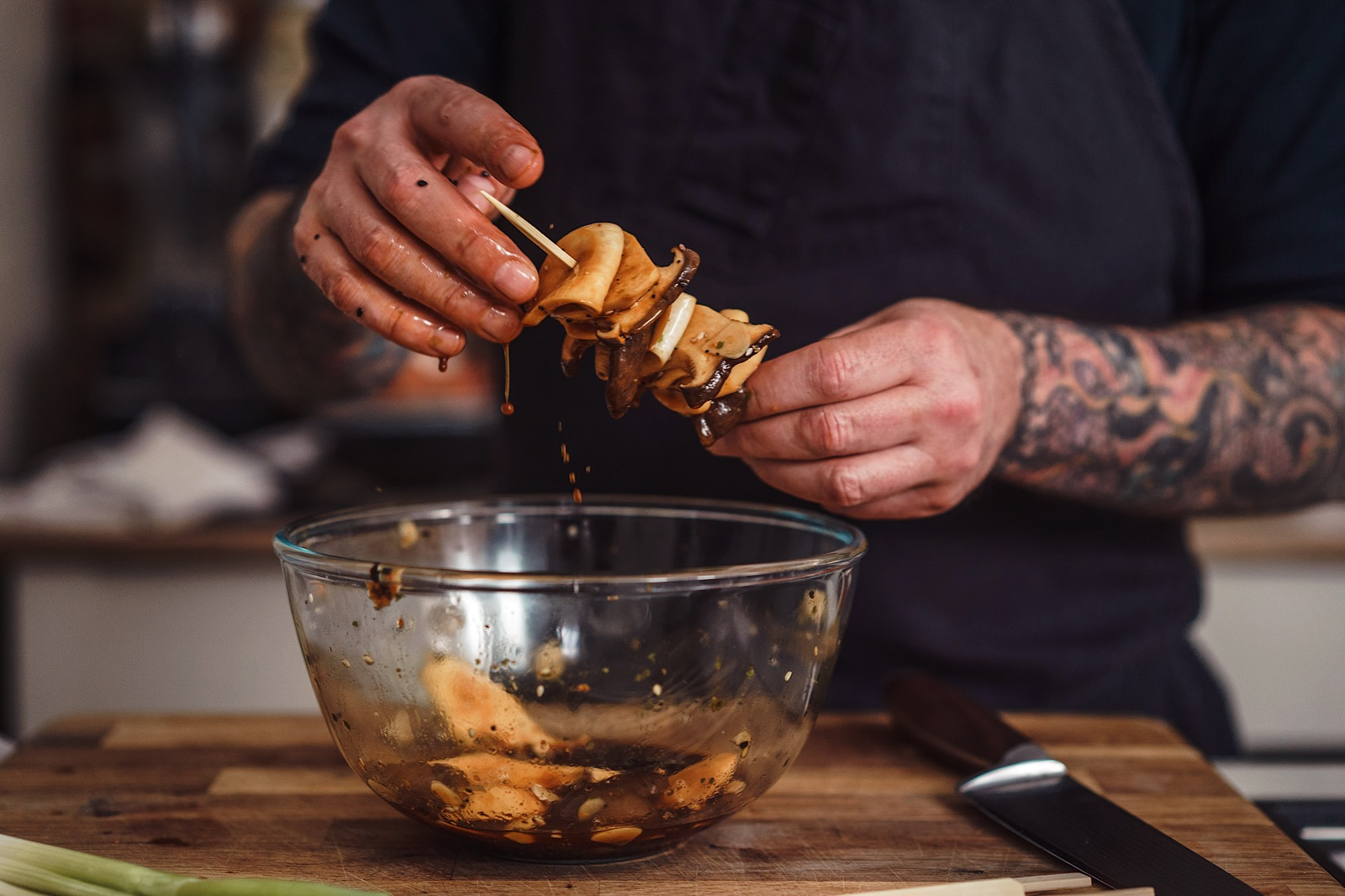 London Food Photography showing chef Derek Sarno creating vegan friendly ready meals for Tescos