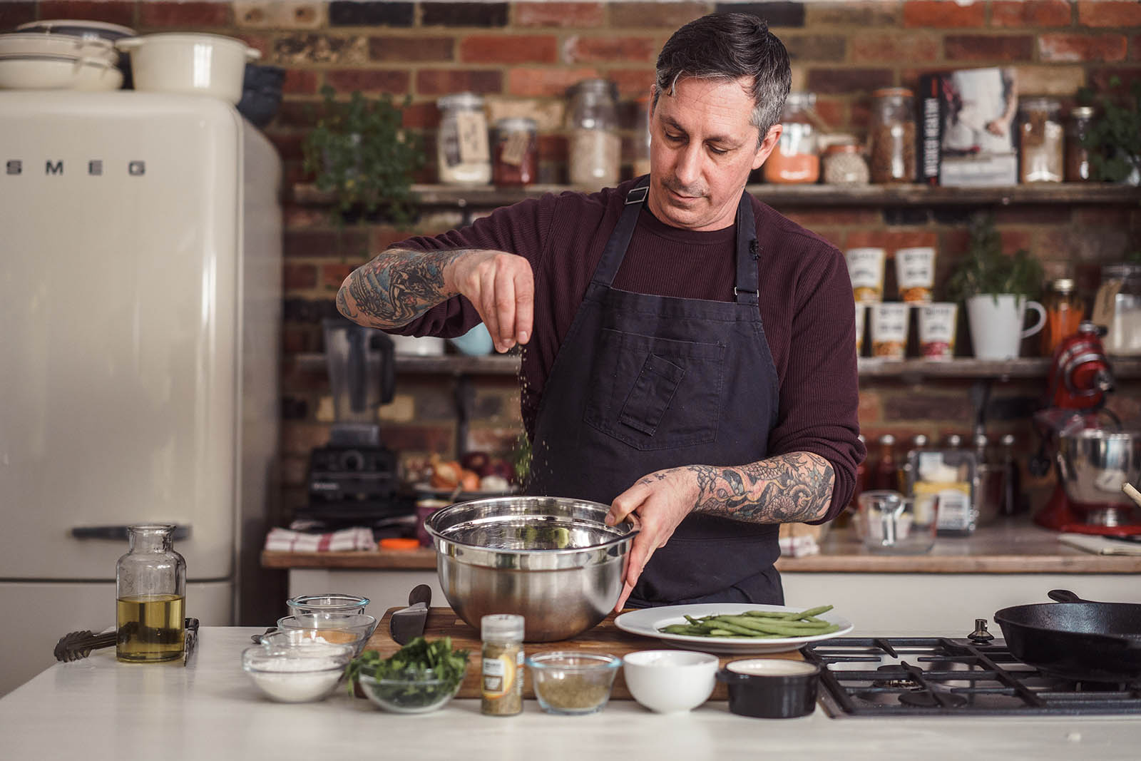 London Food Photography of chef, Derek Sarno creating vegan friendly ready meals for Tescos