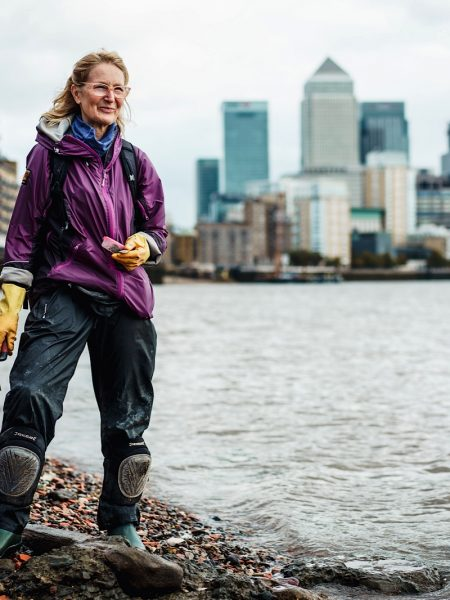 A Mudlarker in London at the Limehouse Basin Foreshore