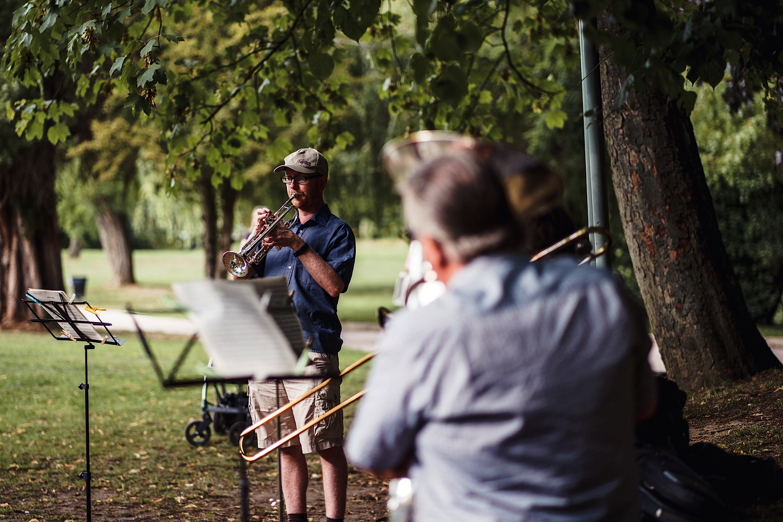 Musicians in Park practising outdoors