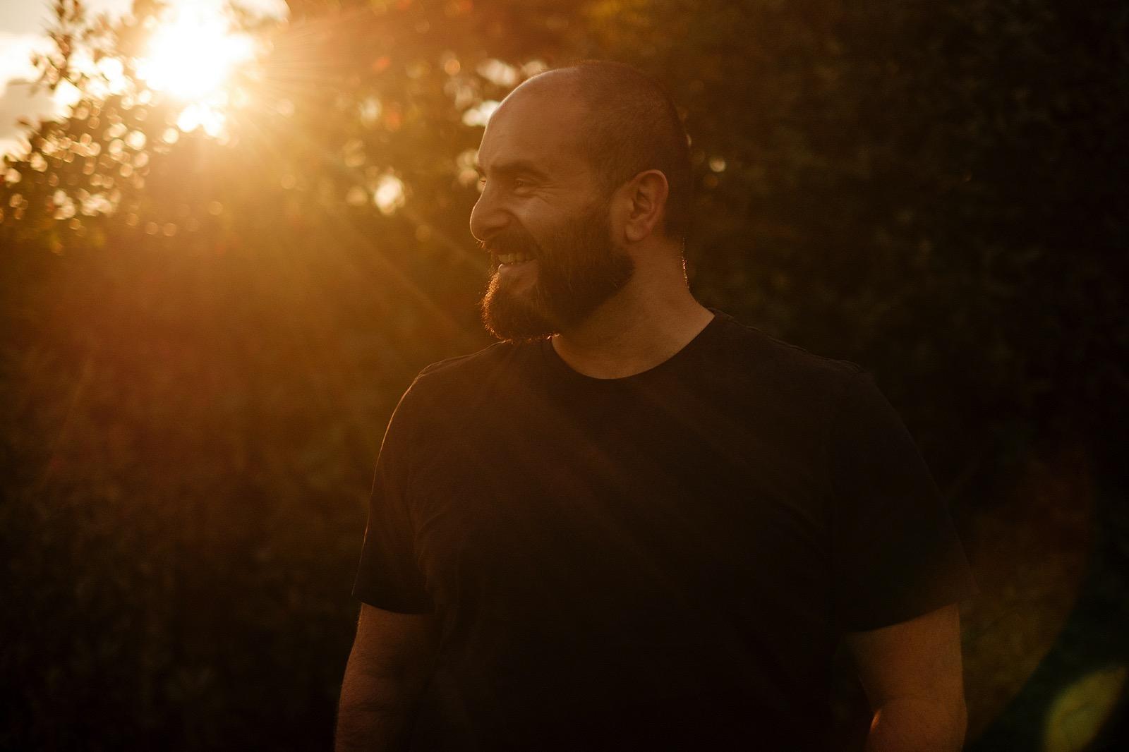 Sunset portrait of man with beard