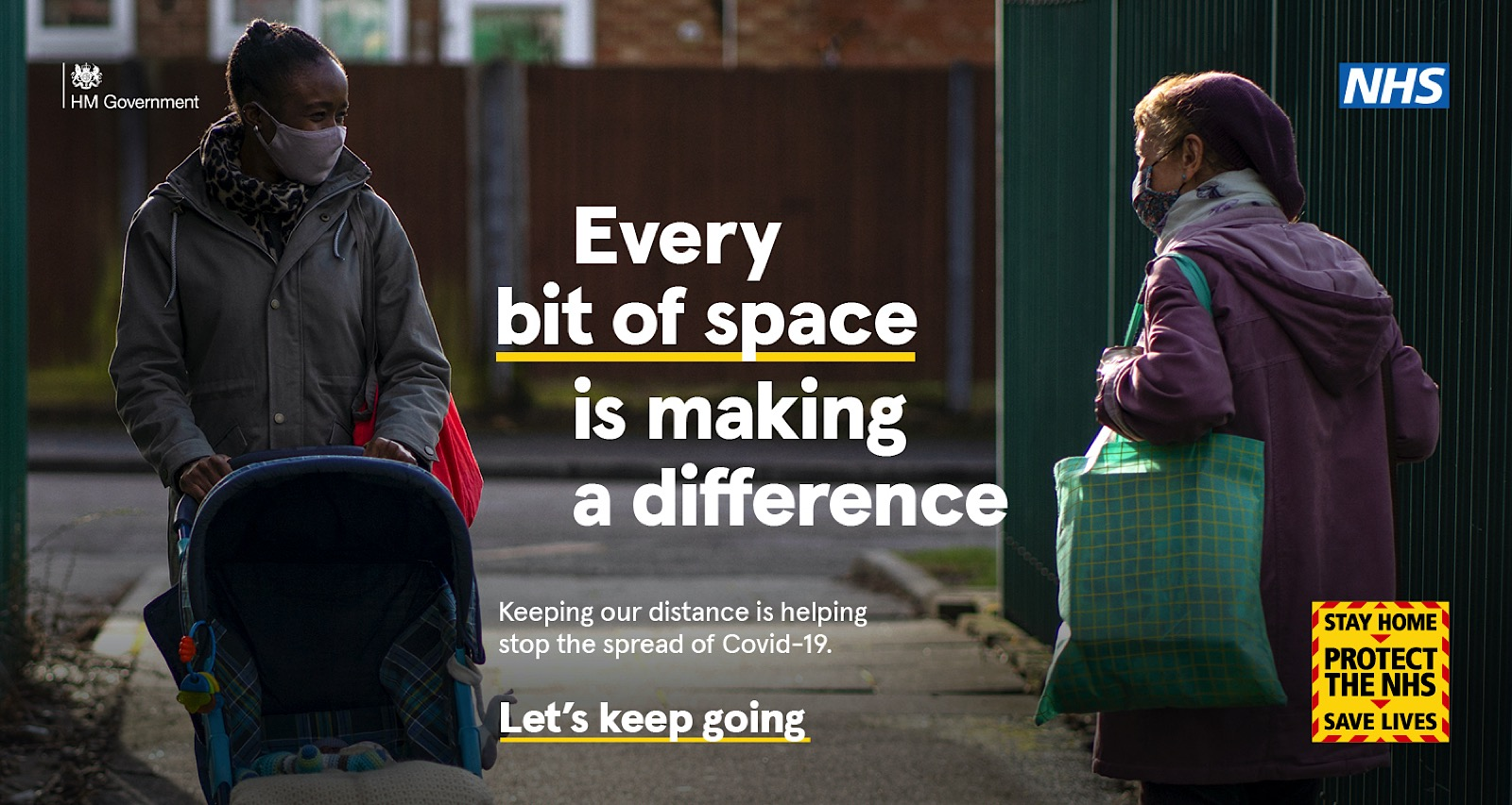 Campaign Image from Let's Keep Going NHS and UK government Covid-19 Campaign showing two women talking in street